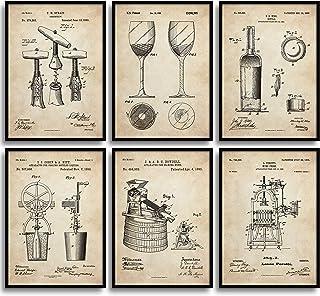 MONOKO® Lot de 6 posters pour cuisine - Motif vin - Sans cadre - Style vintage - Format A3 (29,7 x 42 cm)