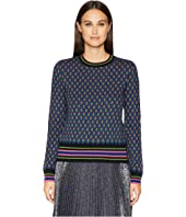 RED VALENTINO - Carded Mix Wool Yarn Forget-Me-Nots Jacquard Sweater