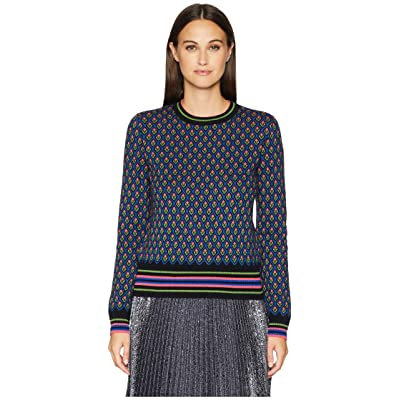 RED VALENTINO Carded Mix Wool Yarn Forget-Me-Nots Jacquard Sweater (Black) Women