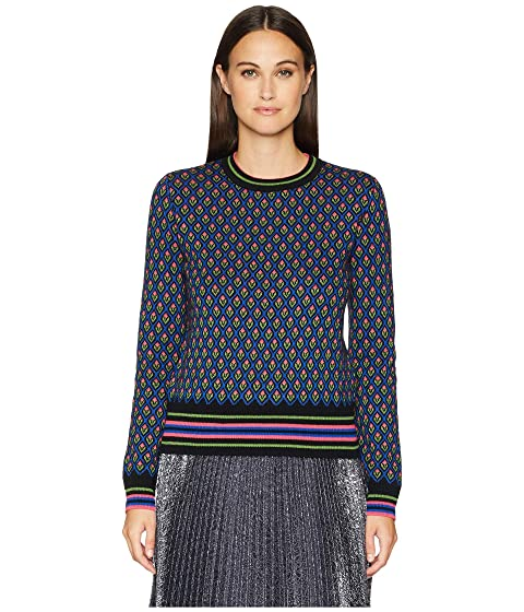 RED VALENTINO Carded Mix Wool Yarn Forget-Me-Nots Jacquard Sweater