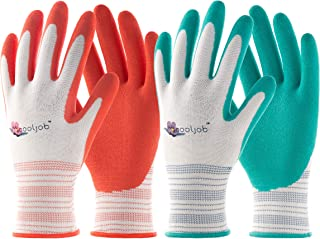 COOLJOB 6 Pairs Garden Gloves for Women, Women's Gardening Working Gloves, Rubber Coated Work Gloves, Medium Size Fits Most, Orange/Green