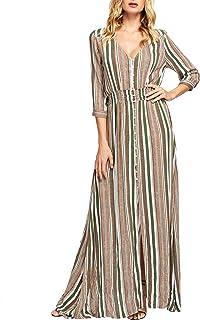 Women's Stripe Button Up V Neck Half Sleeve Split Party Maxi Dress