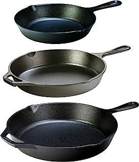 Lodge Seasoned Cast Iron 3 Skillet Bundle. 12†+ 10.25†+ 8†Set of 3 Cast Iron Frying Pans