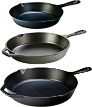 Lodge Seasoned Cast Iron 3 Skillet Bundle. 12 inches and 10.25 inches with 8 inch Set of 3 Cast Iron Frying Pans