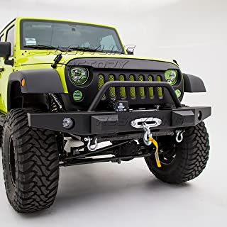 Restyling Factory -Rock Crawler Front Bumper with Winch Plate & OE Fog Light Hole & 2x D-Ring for 07-17 Jeep Wrangler JK