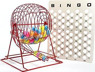 Regal Games Jumbo Professional Red Bingo Cage with Multicolor Ping Pong Bingo Balls