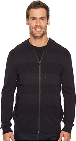 Kenneth Cole Sportswear - Techy Mesh Stripe Hoodie