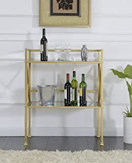 Convenience Concepts Hall Table, Mirror/Gold Frame