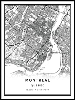 Squareious Montreal map Poster Print   Modern Black and White Wall Art   Scandinavian Home Decor   Quebec City Prints Artwork   Fine Art Posters 8.5x11