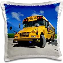3dRose pc_154986_1 Yellow School Bus on A Sunny Day Pillow Case, 16 x 16
