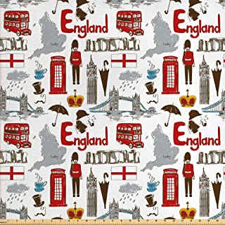 Ambesonne London Fabric by The Yard, Fun Colorful Sketch Royal Guard Map Rain Famous Country Landmarks and Stonehenge, Decorative Fabric for Upholstery and Home Accents, 1 Yard, Ruby Grey