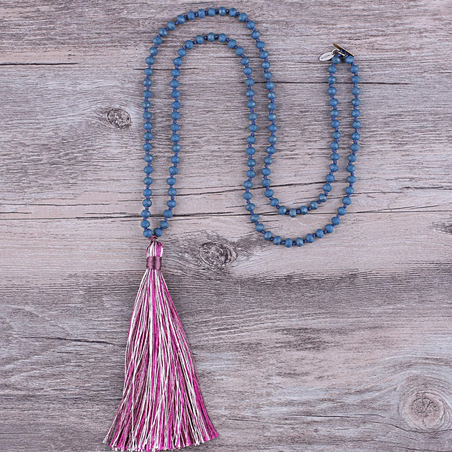KELITCH Womens Tassel Necklace 6mm Long Crystal Beads Necklace Handmade Colorful Tassel Sweater Necklace