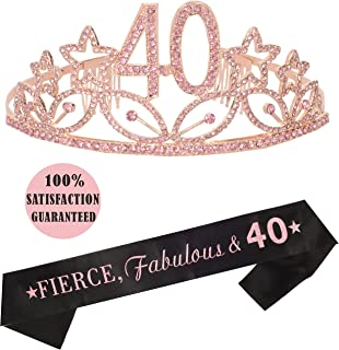 40th Birthday Tiara and Sash Pink, Happy 40th Birthday Party Supplies, Fierce, Fabulous & 40 Glitter Satin Sash and Crystal Tiara Birthday Crown for 40th Birthday Party Supplies and Decorations