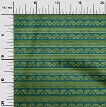 oneOone Cotton Poplin Fabric Stripe & Paisley Block Printed Craft Fabric by The Meter 42 Inch Wide