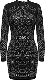 Women's Long Sleeve Rhinestone Embellished Vintage Cocktail Dresses