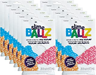Home Decorative Kids Slime Party 10 Pack Colorful Foam Balls 6 PCS Slime Containers with Lids for 46g Slime 6PCS Glue Mixing Spoons for DIY Slime Slime Foam Balls /& Slime Containers