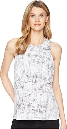 Ellen Tracy Sleeveless Top With Flouncy Overlay