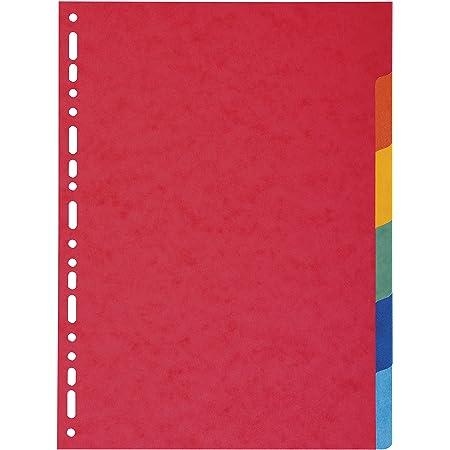Exacompta - Réf. 2006E - Intercalaires en carte coloris vifs recyclée 220g/m2 avec 6 onglets neutres - Format à classer A4 - Dimensions 22,5 x 29,7 cm