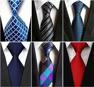 Wehug Lot 6 PCS Men's Class Ties Silk Tie Woven Necktie Jacquard Neck Ties For Men