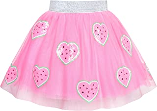 Girls Skirt Blue Heart Sequins Sparkling Tutu Dancing Size 2-12 Years