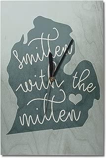Lantern Press Michigan - Smitten with The Mitten (10x15 Wood Wall Clock, Decor Ready to Hang)