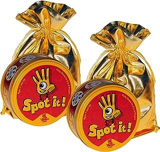 Spot It! Matching Symbols Card Game _Bundle of 2 Identical Games _ Bonus 2 Gold Metallic Cloth Drawstring Pouches _ Bundled Items