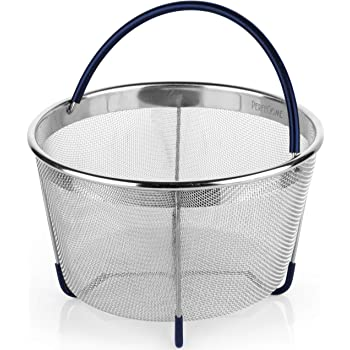 Steamer Basket for 6 and 8 Quart [3qt 8qt avail] Pressure Cooker, fits Instant Pot 6, 8 Quart, Ninja Foodi, Emeril and Other, IP Stainless Steel Insert with Silicone Covered Handle and Legs, PerfeCome