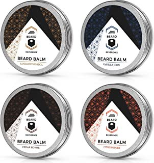 Beard Balm Variety Pack of 4 (Vanilla, Sandalwood, Cedarwood, Citrus) – Soften, Style, and Strengthen Beards and Mustaches – Made with Tea Tree, Jojoba, Argan Oils - 1oz Each – Scented Beard Butter