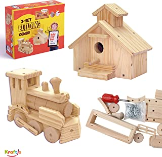 Kraftic Woodworking Building Kit for Kids and Adults, with 2 Educational DIY Carpentry Construction Wood Model Kit Toy Projects for Boys and Girls - Town Hall and Train