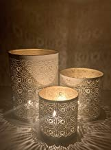 Tealight Candles Holder Set of 3 - Votive Candle Holders Decorative Dining Table Centerpiece (White and Gold Color Metal C...