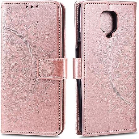 /Étui de protection pour Xiaomi Redmi Note 9 Pro Rose En cuir Motif hibou /Étui /à rabat magn/étique