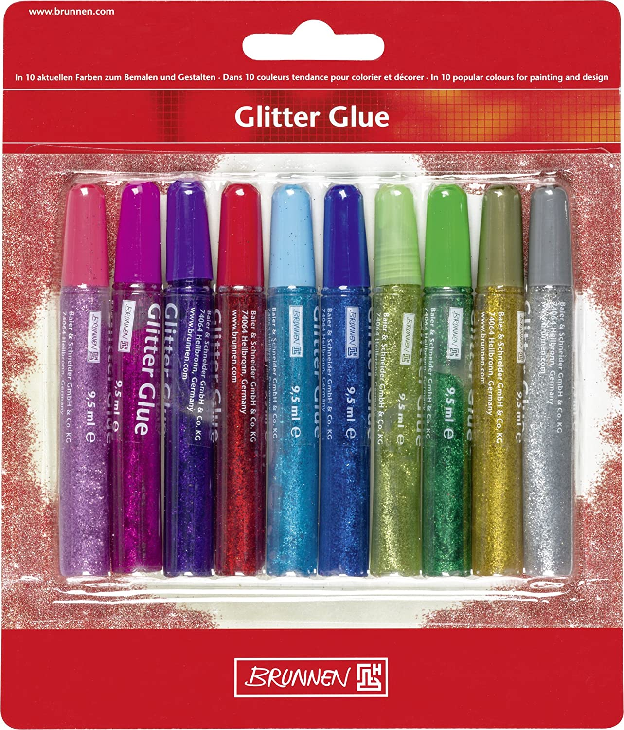 1 year warranty Brunnen 1048550 Scented New product Glitter Glue Pen mm Col 10 Assorted 1 in