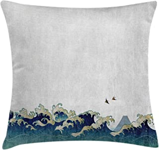 Ambesonne Japanese Wave Throw Pillow Cushion Cover, Aquatic Swirls Birds of Ocean Ukiyo-e Style Artwork Greyscale Background, Decorative Square Accent Pillow Case, 18