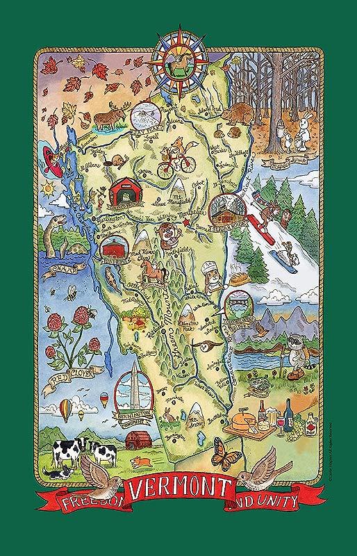 Kay Dee Designs Adventure Destinations Vermont Map Tea Kitchen Towel 18 X 28 Various