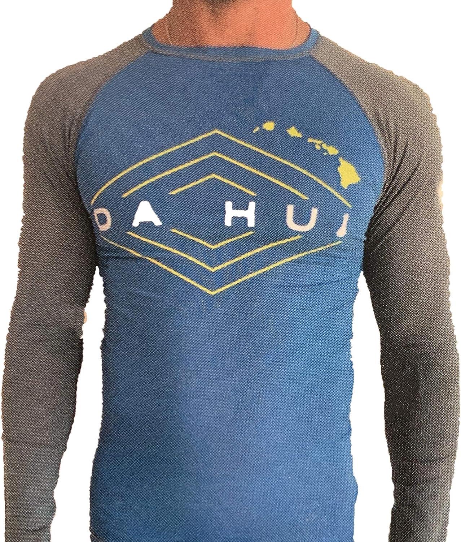 Da Hui Mens Long Sleeve Rash Guard Water Surf Shirt UPF 50+