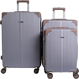 PARAJOHN SCATOLA 3 PIECE HARD TROLLEY LUGGAGE SET SILVER