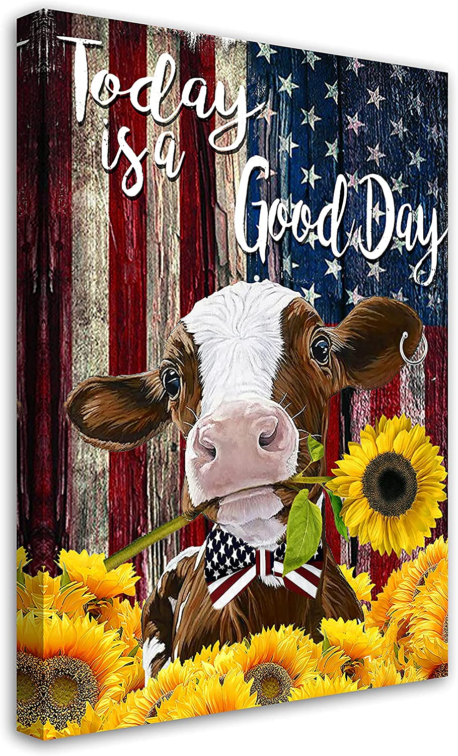 Rustic Cow And Sunflower Canvas Animal Picture Ar At the price Excellent Print Painting