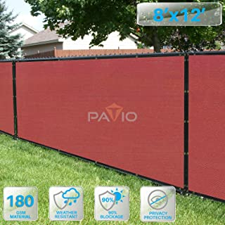 Patio Fence Privacy Screen 8' x 12', Pergola Shade Cover Canopy Sun Block, Heavy Duty Fence Privacy Netting, Commercial Grade Privacy Fencing, 180 GSM, 90% Privacy Blockage (Red)