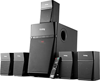 Frisby Home Theater 5.1 Surround Sound System with Subwoofer, Bluetooth Wireless Streaming from Devices & Media Reader, FM Radio, Digital Optical Output – Black (Renewed)