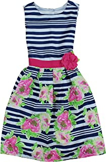 Girls Semi Formal Special Occasion Holiday Colorful Spring Dresses (10, Navy/White)
