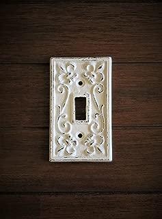 Single Light Switch Cover/Light Plate Cover/Cast Iron Plate/Fleur de Lis Design/Antique White or Pick Your Color
