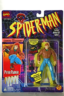 PETER PARKER With Camera Accessory 1994 Spider-Man The New Animated Series Action Figure & Bonus Collector Pin