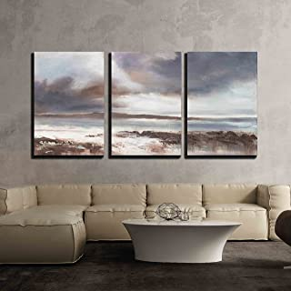 wall26 3 Piece Canvas Wall Art - Original Oil Painting, Stormy Beach Seascape. - Modern Home Decor Stretched and Framed Ready to Hang - 16