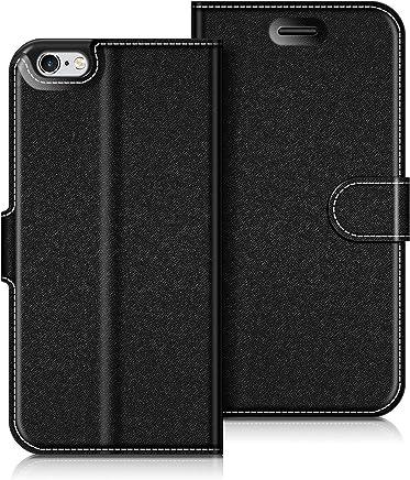 COODIO Custodia in Pelle iPhone 6S, Custodia iPhone 6S, Custodia Portafoglio Cover Porta Carte Chiusura Magnetica per iPhone 6S / iPhone 6, Nero