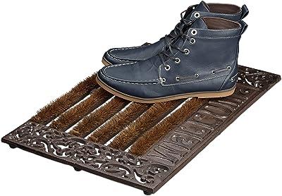 """Relaxdays Paillasson en fonte avec brosse essuie-pieds tapis d'entrée en fonte rectangle """"WELCOME"""" h x l x P: 4 x 57 x 37 cm style maison de campagne ancien anti-dérapant, bronze"""