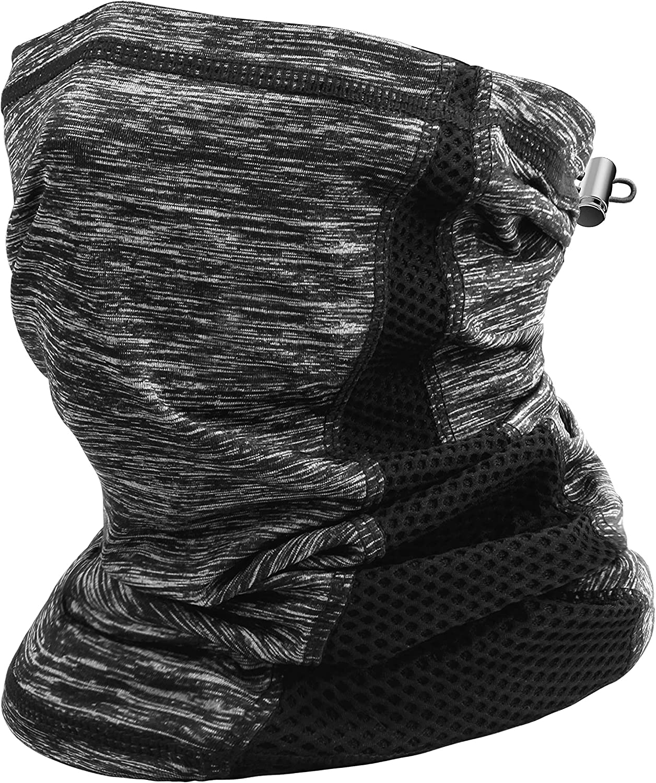 Neck Gaiter Drawstring Cooling Breathable Face Cover Lightweight for Men Women