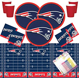New England Patriots NFL Football Team Logo Plates Napkins Cups and Table Cover Serves 16 with Birthday Candles (Bundle for 16)