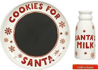 Tiny Ideas Santa's Christmas Cookie Set, Chalkboard Message to Santa Plate and Milk Mug Holiday Gift Set