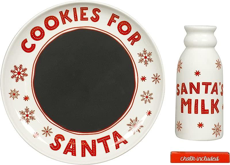 Tiny Ideas Santa S Christmas Cookie Set Chalkboard Message To Santa Plate And Milk Mug Holiday Gift Set