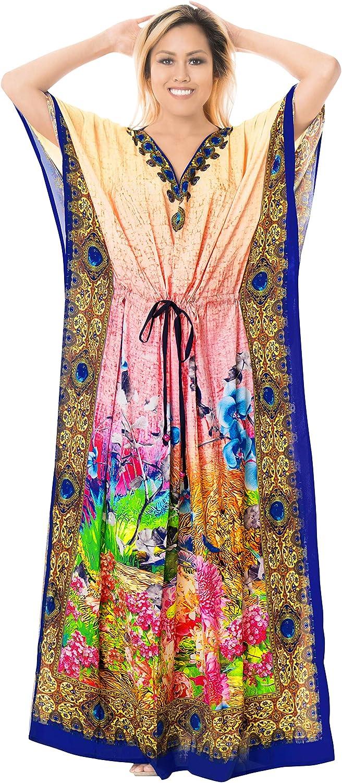 LA LEELA Women's Long Kaftan Swimsuit Cover Ups Sleep Casual Dress Drawstring A